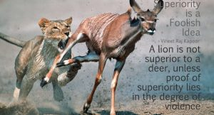 Superiority is a Foolish Idea. A lion is not superior to a deer unless the proof lies in the degree of violence. - Vineet Raj Kapoor